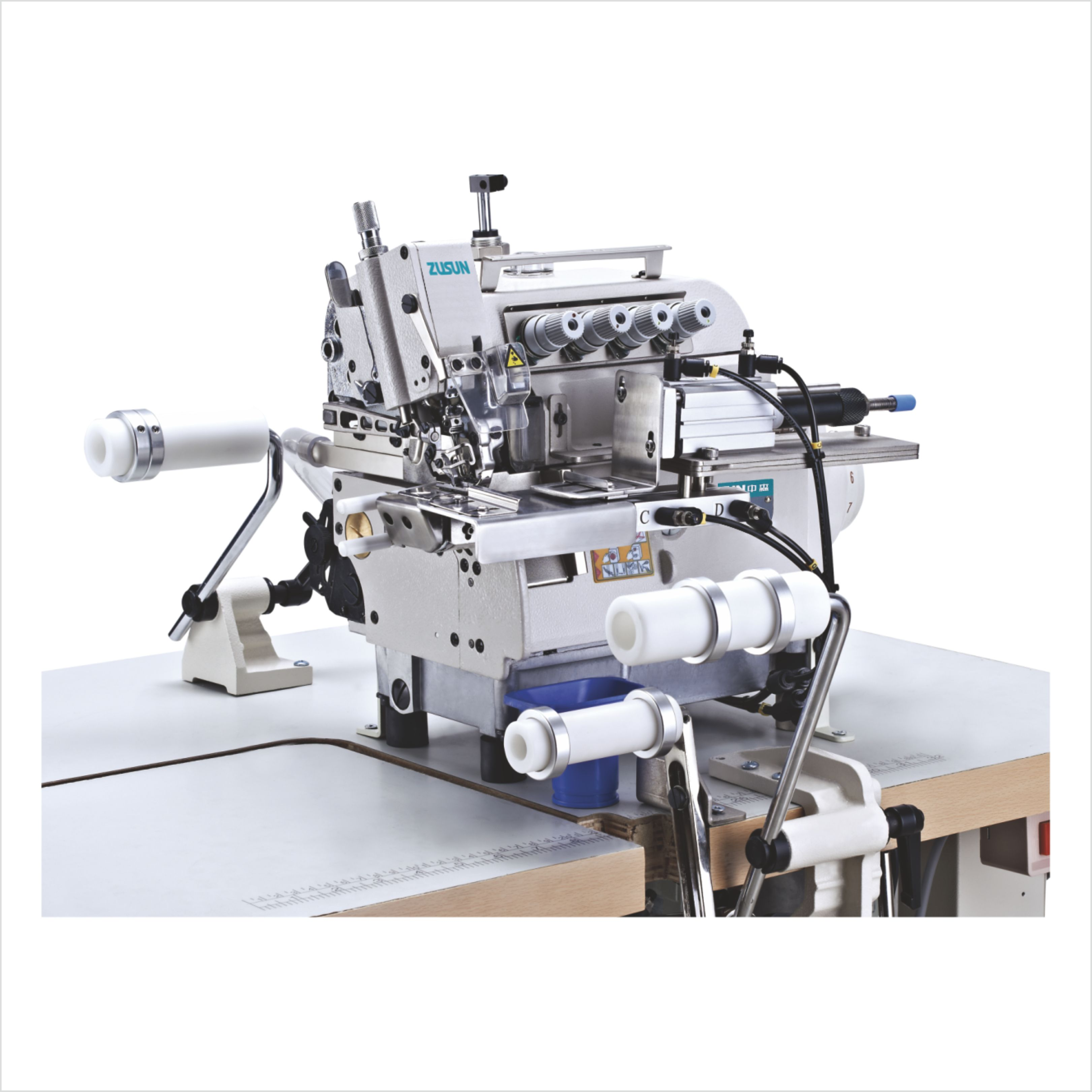 Direct drive round collar attaching small cylinder bed overlock machine