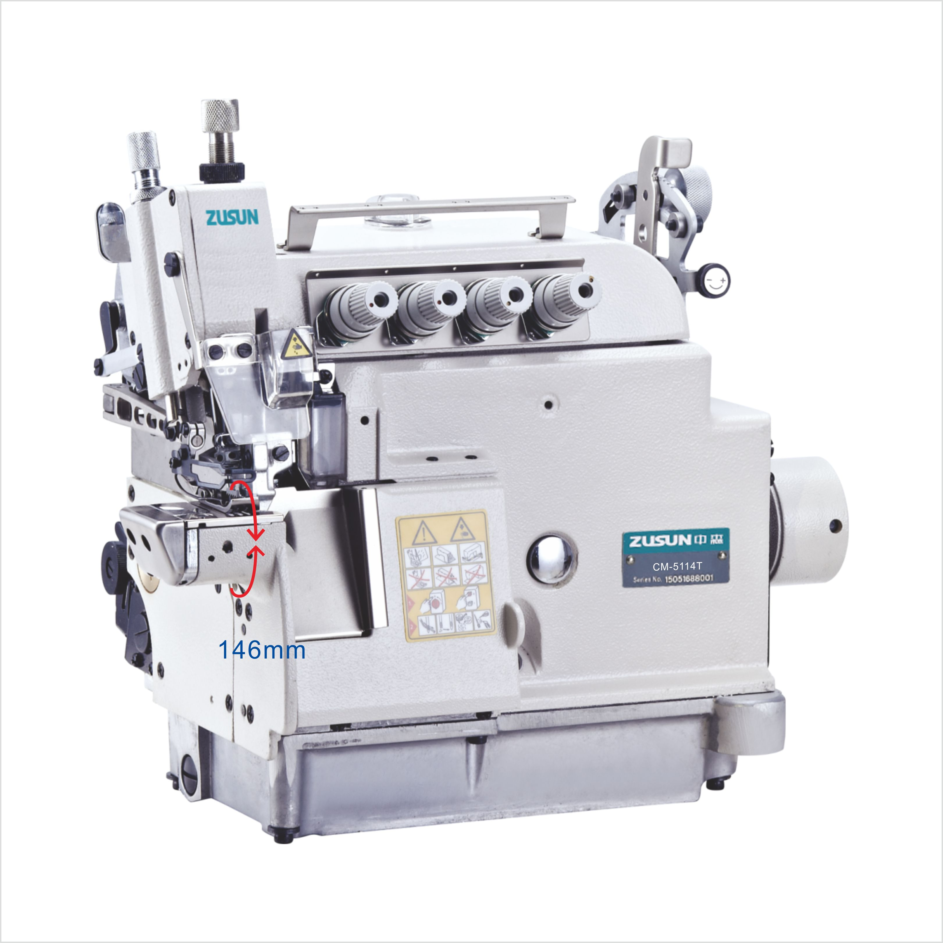 Small cylinder bed overlock machine with variable top feed